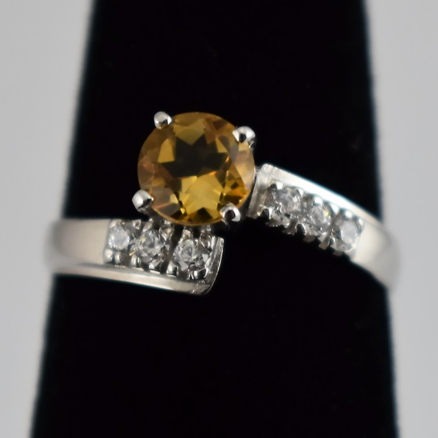 Citrine Ring, Rhodium Plated over Sterling Silver