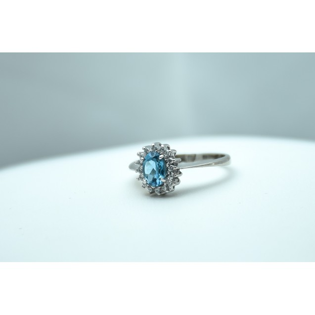 Blue Topaz Cluster Ring, Rhodium plated, sterling Silver ring
