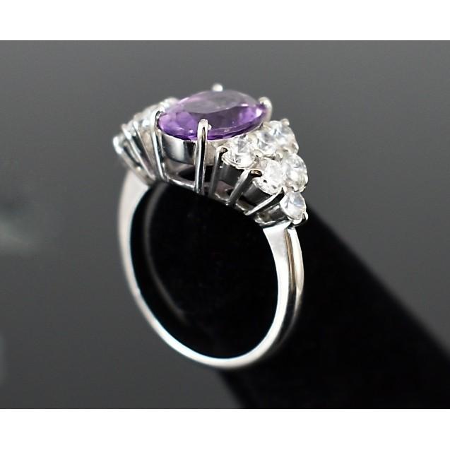 Amethyst Big stone , Rhodium plated Sterling Silver Ring