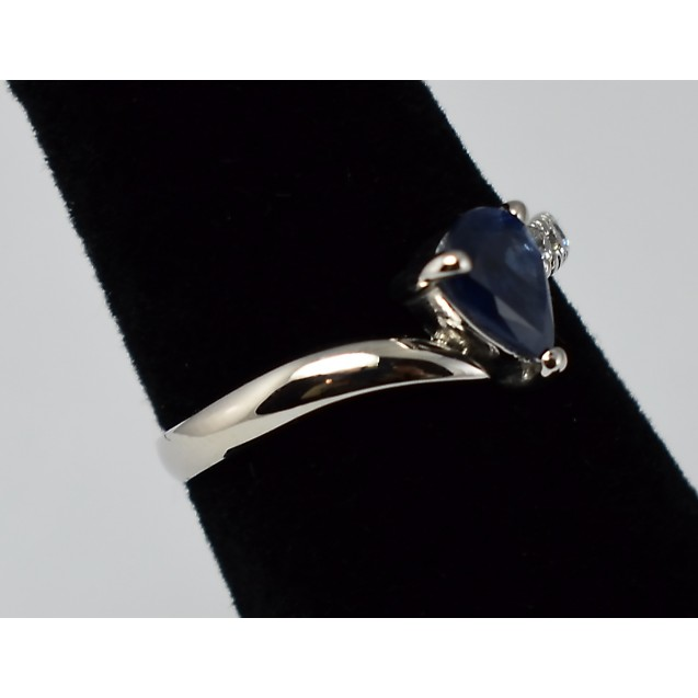 Blue Sapphire Precious gem Rhodium plated Sterling Silver Ring