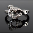 American Diamond Rhodium plated Sterling Silver Ring