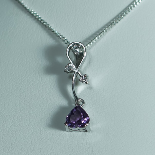 Small Rhodium plated Sterling Silver Pendant