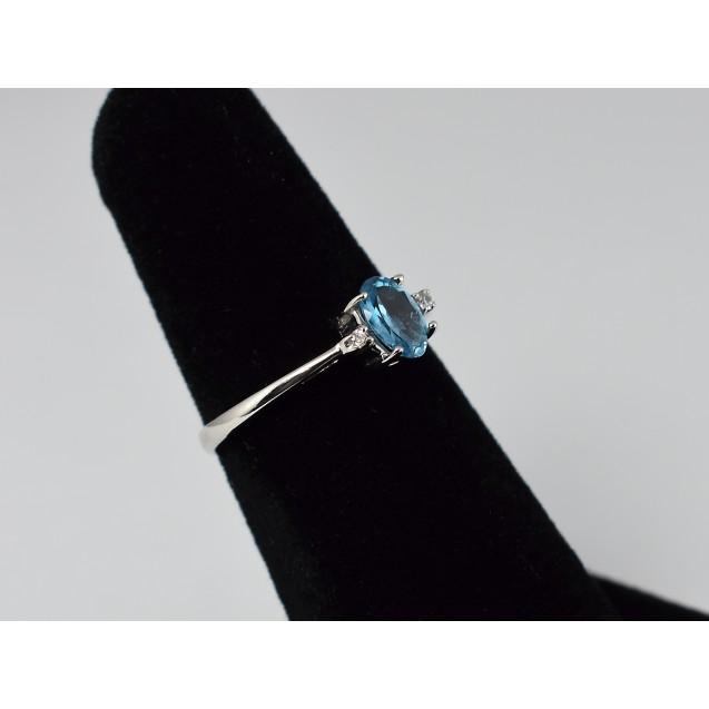 Blue Topaz ,American Diamond, Rhodium plated Sterling Silver Ring