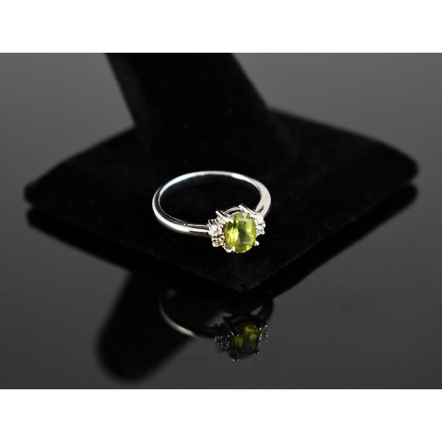Peridot ,American Diamond Rhodium plated Sterling Silver Ring