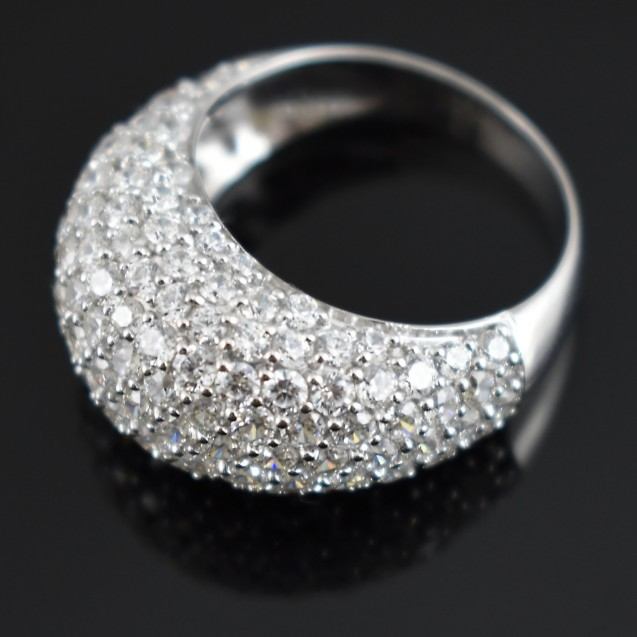 Gorgeous Pave Dome Ring, Rhodium plated over Sterling Silver