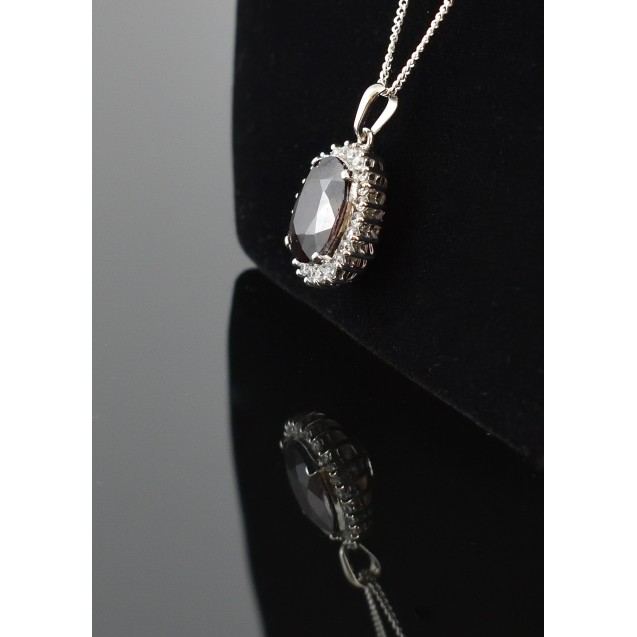 Tourmaline Maroon Cluster Pendent, Rhodium plated over sterling silver