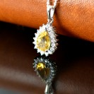 Citrine Cluster Pendent Rhodium Plated Over Sterling Silver with 18'' Silver Chain