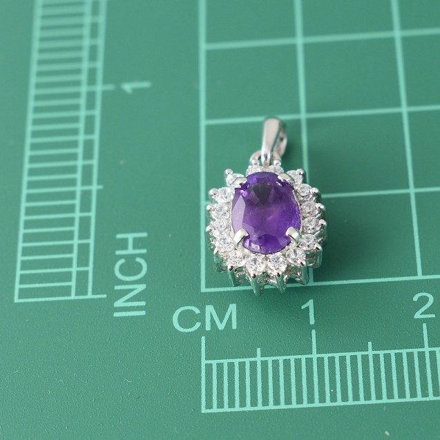 Amethyst-Purple-Cluster-Pendant Rhodium Plated Over Sterling Silver with 18'' Silver Chain