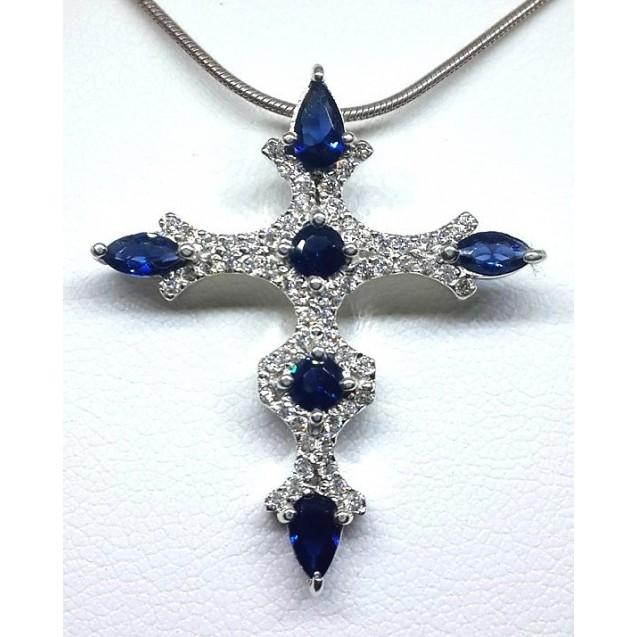 Blue White Cross Pendant