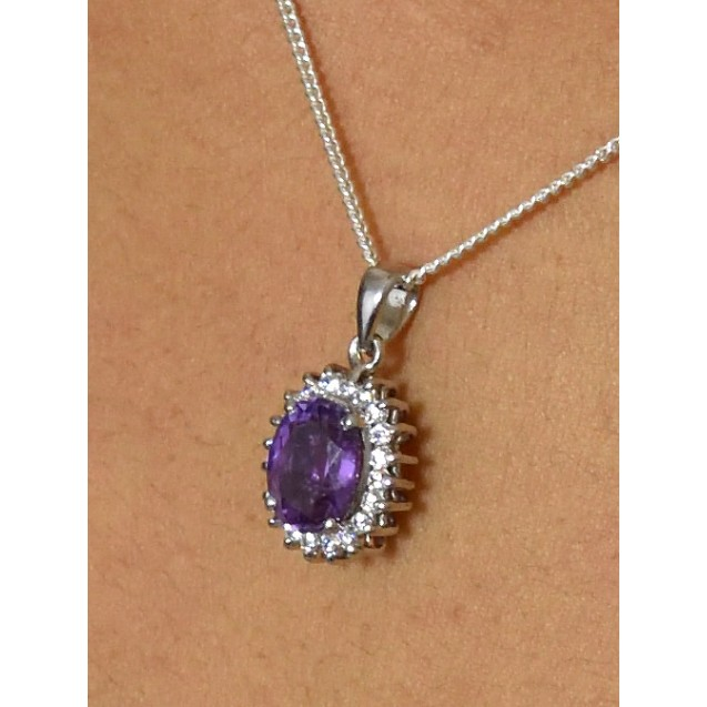 Amethyst Cluster rhodium plated silver Pendent