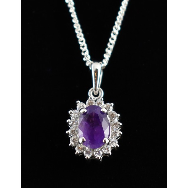 Gorgeous Amethyst Oval Gemstone, Cluster Pedant, Rhodium plated, over sterling silver