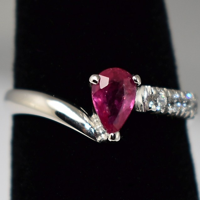 Unique Ruby Precious Pink stone, Rhodium plated Sterling silver ring
